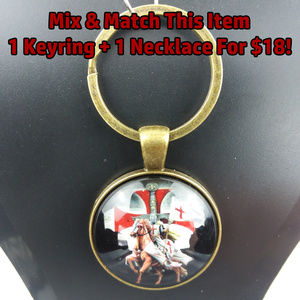 Knight Templar Photo Glass Cabochon Keychain